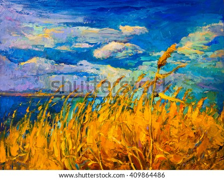Original oil painting on canvas. Colorful landscape painting. Modern impressionism. - stock photo