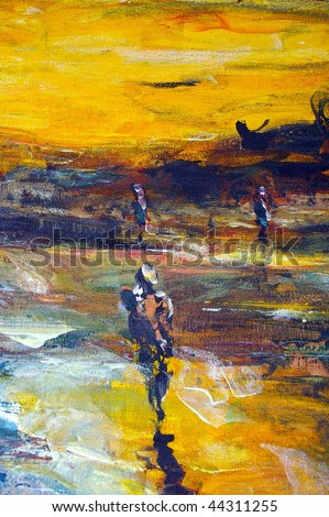 original oil painting on canvas for giclee, background or concept copyright from from the photographer - stock photo