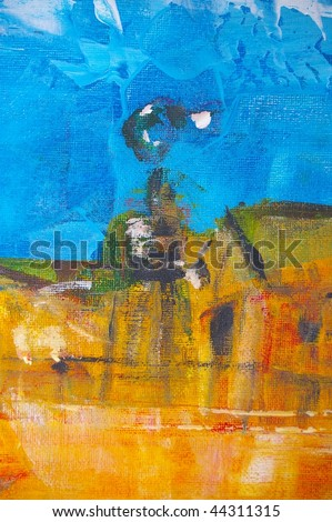 original oil painting on canvas for giclee, background or concept featuring  bush windmill - stock photo