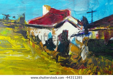 original oil painting on canvas for giclee, background or concept featuring house - stock photo