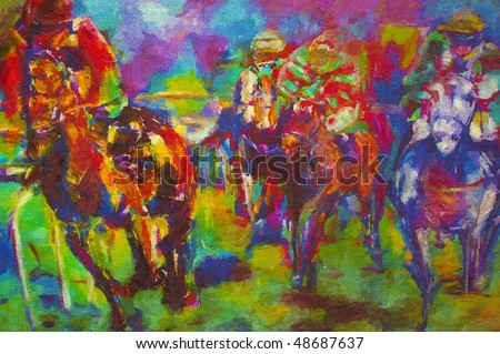 original oil painting on canvas for giclee, background or concept.horse racing