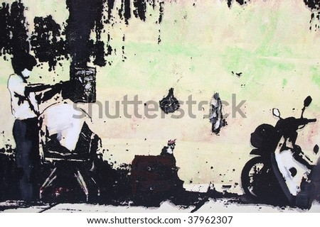 original oil painting on canvas for giclee, background or concept . strett haircut scene in veitnam saigon - stock photo