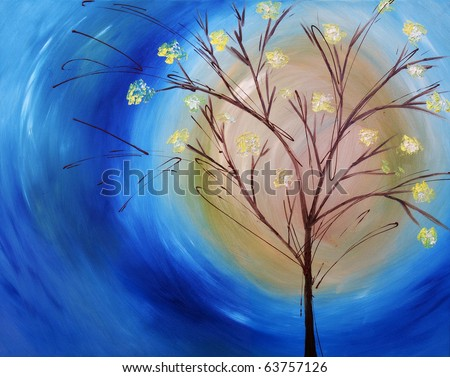 Original oil painting on canvas of a fall tree against blue swirling sky - stock photo
