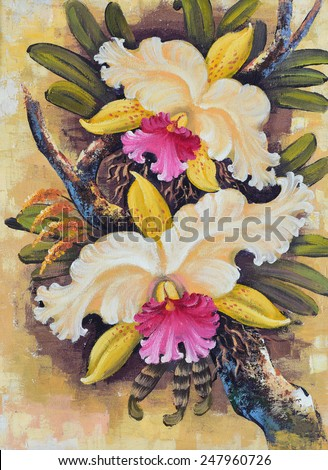 Original oil painting on canvas - Thai forest orchids  - stock photo