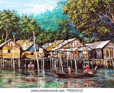 Original oil painting on canvas - waterside life - stock photo