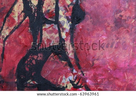 original oil painting on textured cotton canvas - stock photo