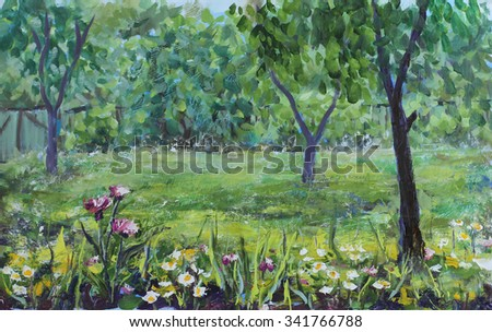 Original Oil Painting Rustic Summer Garden Trees Flowers Fence On Canvas Impasto