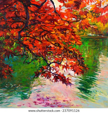 Original oil painting showing beautiful Autumn fores and lake on canvas. Modern Impressionism - stock photo