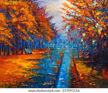 Original oil painting showing beautiful Autumn park with empty  benches on canvas. Modern Impressionism - stock photo