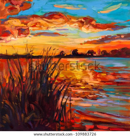 Original oil painting showing beautiful lake,sunset landscape.Fern(rush),sky and clouds. Modern Impressionism - stock photo