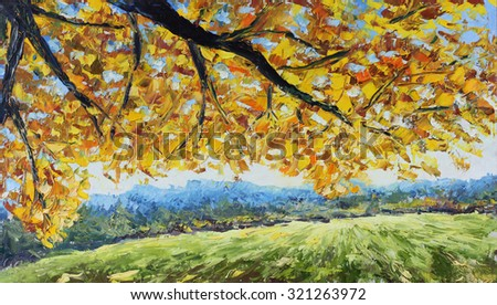 Original oil painting yellow branch of a tree in a forest glade, yellow leaves, green trees on canvas. Impasto artwork. Impressionism art.