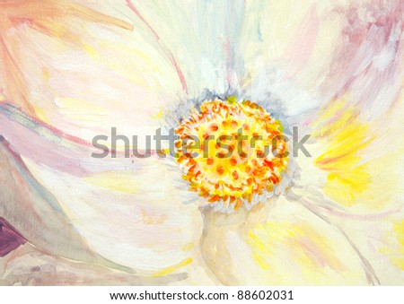 Original painting of a closeup of a lotus flower, a child art - stock photo