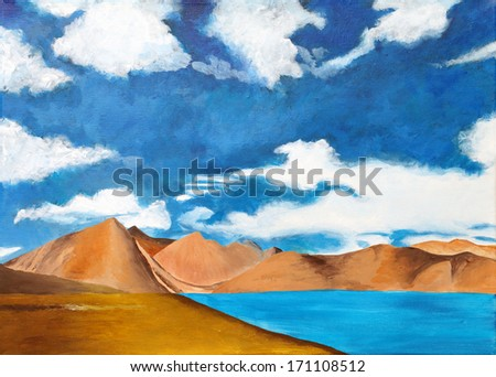 Original painting of a landscape with cloud covered mountain,  a child art - stock photo