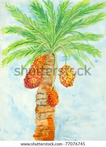 Original painting of Orange reddish brown ripen dates, a child art - stock photo