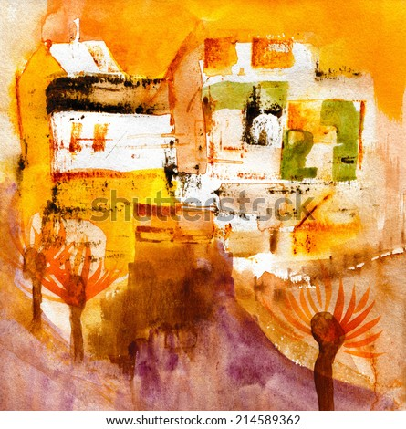 Original painting on paper. Watercolor abstract background. - stock photo