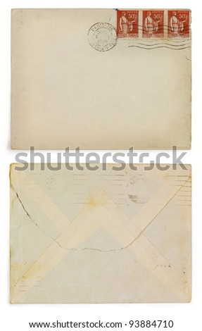 Original past century envelope. Year 1939. French postage stamps. Front and back view. - stock photo