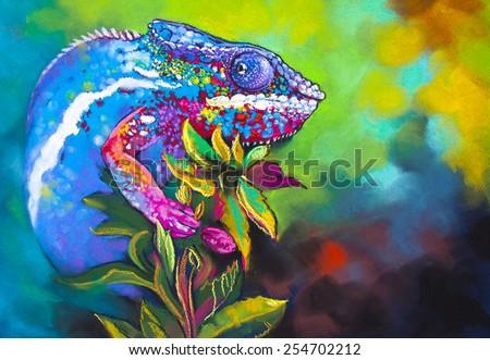 Original pastel painting on cardboard.Beautiful chameleon hidden in the woods. - stock photo