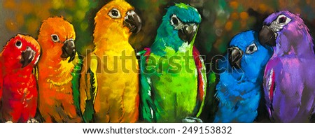 Original pastel painting on paper.Parrots in the colors of the rainbow. - stock photo