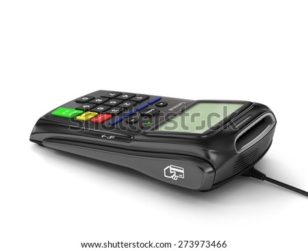 Original payment terminal on white background. Credit card reader. Finance concept.