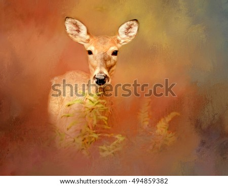 Original photograph of a deer transformed into a painting against a colorful abstract background