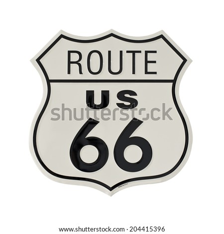 original Route 66 road sign isolated on white background - stock photo