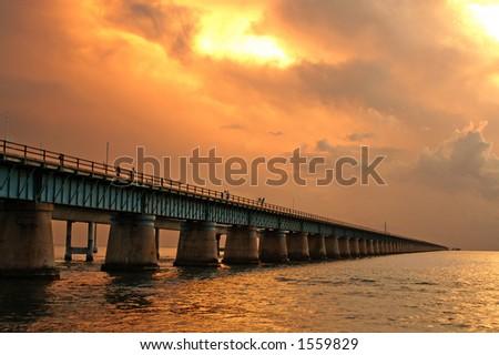 Original Seven Mile Bridge at Sunset - stock photo
