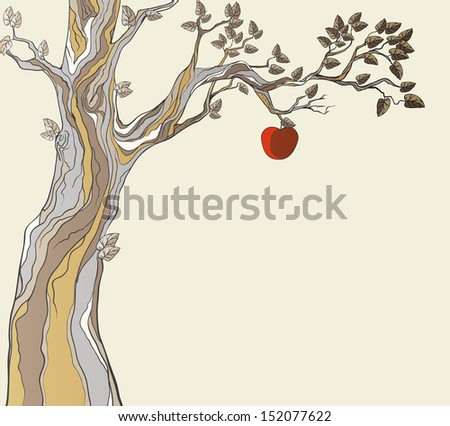 Original sin. Tree with apple. - stock photo