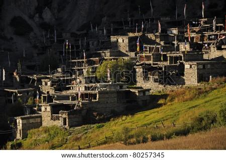 original Tibetan stone village, Around Annapurna trekking trail, Nepal - stock photo