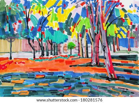 original unusual marker painting of tree landscape, fine art, raster version - stock photo