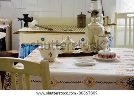 Original vintage kitchen of middle class from beginning of 20th century in Silesia - industrial, mining region of Poland - stock photo