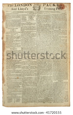 Original vintage London newspaper, dated 1813. - stock photo