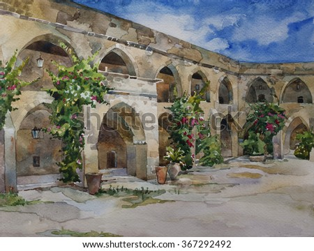 Original watercolor landscape  of interior of inner yard of Khan el-Franj, french caravanserai in downtown of Saida, Lebanon - stock photo