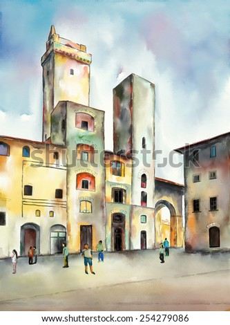 Original watercolor painting depicting a plaza from San Gimignano in Tuscany, Italy.  - stock photo