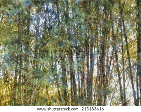 Original watercolor painting of abstract bamboo forest with black frame,art illustration - stock photo