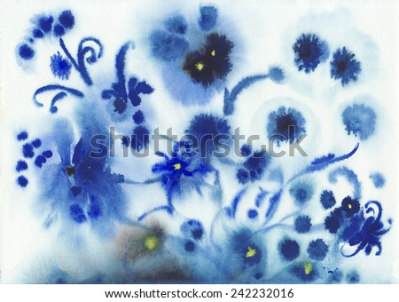 Original watercolor painting of abstract blue wet watercolor flowers - stock photo