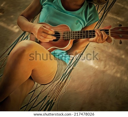 Original watercolor painting of girl playing ukulele, art background illustration for home decoration - stock photo