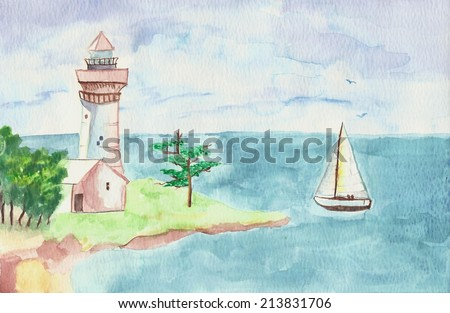 Original watercolor painting of ocean, lighthouse, and sailboat sailing by / Sailing / Made for my parents who love lighthouses and the ocean - stock photo