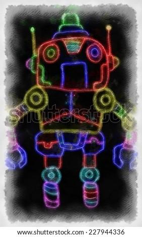 Original watercolor painting of robot,art illustration - stock photo