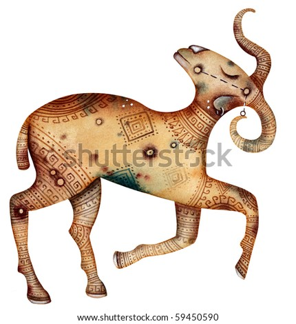 Original zodiac symbol of aries - stock photo