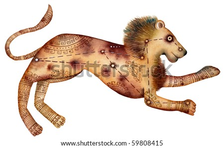 Original zodiac symbol of Leo - stock photo
