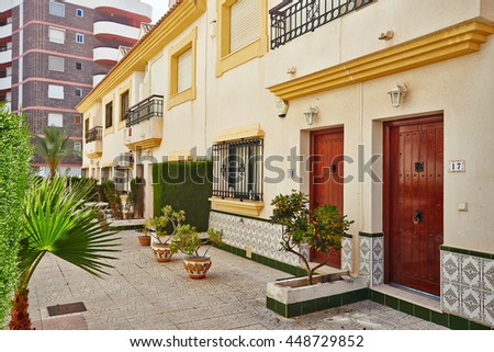 Orihuela, Spain- June 06, 2016: Apartments and villas for tourists near the sea in Spain in the region Orihuela.