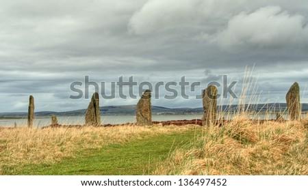 Orkney standing stones - stock photo