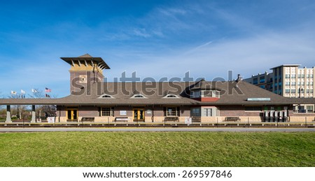 ORLAND PARK, ILLINOIS - APRIL 13: Orland Park Train Depot at 143rd Street & Southwest Highway on April 13, 2015 in Orland Park, Illinois