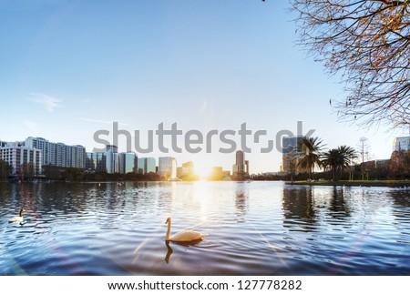 Orlando at Sunset - stock photo
