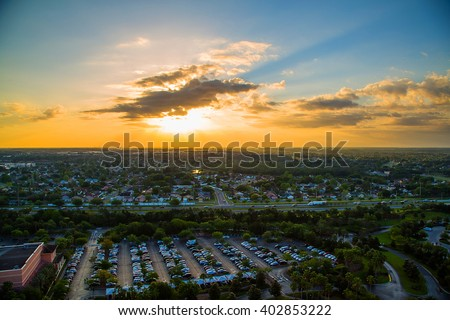 Orlando city Downtown aerial view with an amazing sunset view - stock photo
