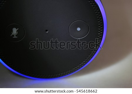 ORLANDO, FL - December 30, 2016:   Amazon Echo, the voice recognition streaming device from Amazon.  Currently available in two colors, black and white for a list price of $179.99.