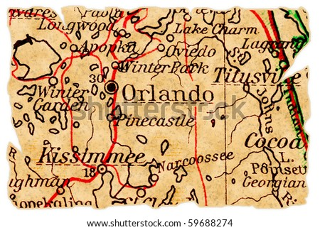 Orlando, Florida on an old torn map from 1949, isolated. Part of the old map series. - stock photo