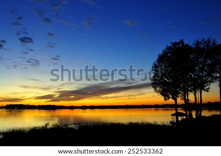 Orlando Florida sunset during Christmas day evening - stock photo