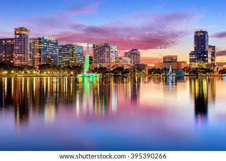 Orlando, Florida, USA downtown city skyline from Eola Park. - stock photo