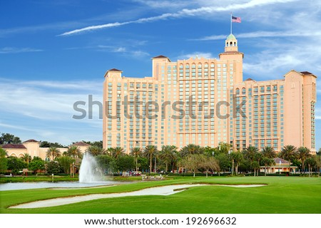 Orlando, Florida, USA - May 01, 2014: The JW Marriott Orlando hotel is part of the gorgeous Grande Lakes luxury complex including a dozen or so restaurants, convention center and golf course. - stock photo